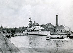 Union Iron Works - USS Oregon in 1896 at a Bremerton, Washington state Drydock.