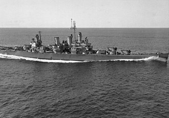 USS Savannah (CL-42) - Image: USS Savannah (CL 42) off New England 1944