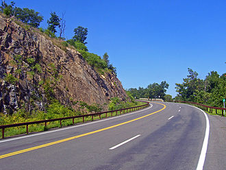 U.S. Route 9W - Route 9W climbing Dunderburg Mountain in northern Rockland County.