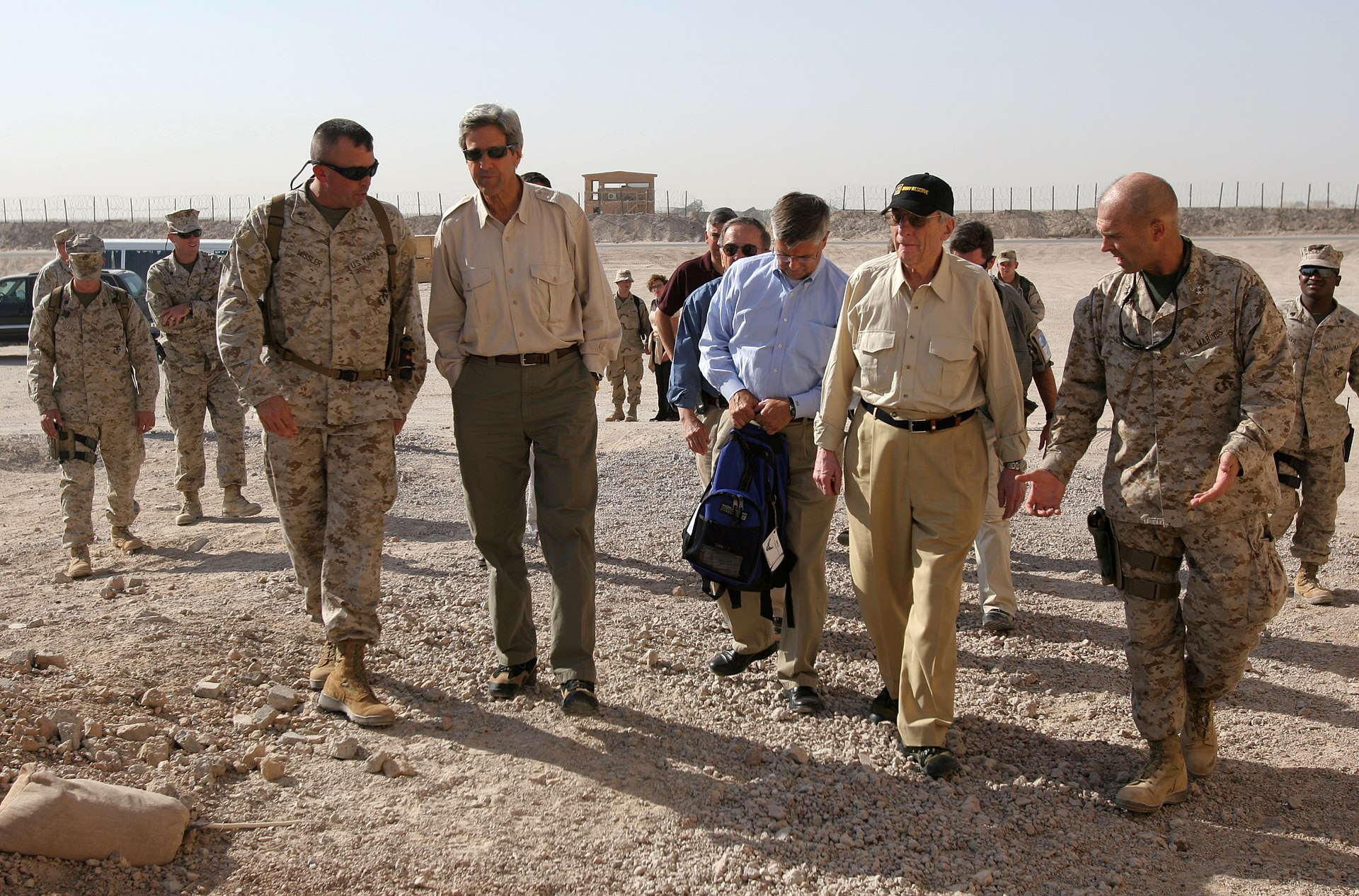 U.S. Senators John Kerry of Massachusetts, Ted Stevens of Alaska, and John Warner of Virginia in Al Taqaddum [ at Habbaniyah] 2007