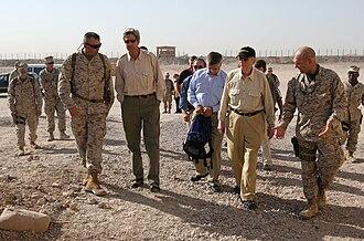 Al-Taqaddum Air Base - U.S. Senators John Kerry of Massachusetts, Ted Stevens of Alaska, and John Warner of Virginia in Al Taqaddum