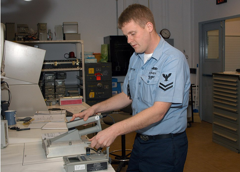 US Navy 070208-N-9132D-002 Electronics Technician 2nd Class Shea Thompson tests an Alpha Particle Dection Probe