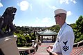 US Navy 070212-N-8946D-236 Aerographer's Mate 2nd Class Joshua Lund attached to Commander, U.S. 7th Fleet staff looks out at the city of Cebu from a Taoist Temple.jpg