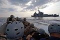 US Navy 070624-N-0841E-138 Members assigned to the visit, board, search and seizure (VBSS) team on board guided-missile cruiser USS Vicksburg (CG 69) take part in a boarding scenario training exercise.jpg