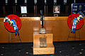 US Navy 071127-N-9860Y-007 A memorial for Explosive Ordnance Disposal Technician 2nd Class Kevin Bewley, Explosive Ordnance Disposal Mobile Unit (EODMU) 11, is displayed during a memorial ceremony held in his honor.jpg