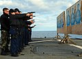 US Navy 090131-N-4044H-012 Sailors and maritime professionals aboard the amphibious command ship USS Mount Whitney (LCC 20) participate in 9mm small-arms qualifications.jpg
