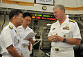 US Navy 090707-N-8273J-236 Chief of Naval Operations (CNO) Adm. Gary Roughead visits with Sailors aboard the Republic of Korea Aegis destroyer Sejong the Great (KDX 991) during a visit to Busan, Korea.jpg