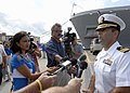 US Navy 090921-N-2456S-117 The guided-missile destroyer USS Bainbridge (DDG 96) Commanding Officer Cmdr. Frank Castellano, gives an interview to local media, after returning home to Naval Station Norfolk, Va.jpg