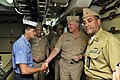 US Navy 091205-N-8273J-066 Chief of Naval Operations (CNO) Adm. Gary Roughead, middle, speaks with Columbian sailors while touring the Colombian navy frigate ARC Antioquia (FL 53).jpg