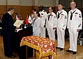 US Navy 100522-N-5019M-002 Sailors and DoD civilians receive Zenkokai or Good Conduct Awards from Kohsho Kawamura, president of the Zenkokai Selection Association, at the Meiji-Jingu Shrine in Tokyo.jpg