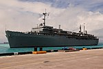 US Navy 100814-N-1401J-076 USS Emory S. Land (AS 39) arrives at her new homeport of Diego Garcia.jpg