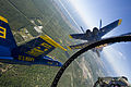US Navy 110517-N-BA418-005 Pilots assigned to the U.S. Navy flight demonstration squadron, the Blue Angels, fly F-A-18 Hornet strike fighters over.jpg