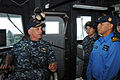 US Navy 110610-N-SP676-308 Cmdr. Donald Foss, commanding officer of the guided-missile frigate USS Ford (FFG 54), speaks with Royal Malaysian Navy.jpg
