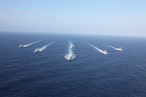 US Navy 120129-N-ZZ999-593 Six of the seven ships assigned to Destroyer Squadron (DESRON) 15 transit in formation during Multi-Sail 2012.jpg