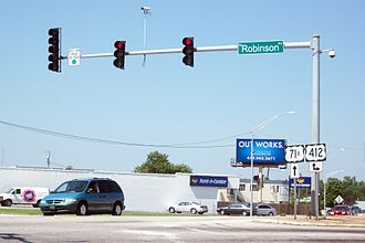 Special routes of U.S. Route 71 - Image: US Route 71B intersects US 412, Springdale, AR