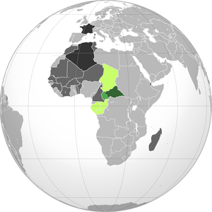 Ubangi-Shari - Green: Ubangi-Shari (prior to 1916) Lighter green: Ubangi-Shari (1916 concession from Kamerun) Lime green: French Equatorial Africa Dark gray: Other French possessions Darkest gray: French Republic