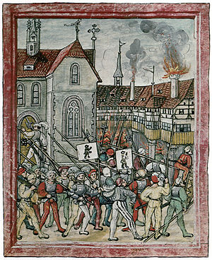 Rorschach, Switzerland - Appenzell and St. Gallen troops attack Mariaberg Monastery in Rorschach. Amtliche Luzerner Chronik, 1513