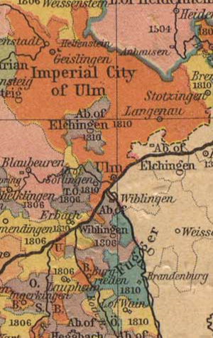 Elchingen Abbey - Map of Württemberg before the French Revolutionary Wars, showing the Free Imperial City of Ulm, separating the two parts of the Imperial Abbey of Elchingen, with the Danube shown running through the centre of the image.