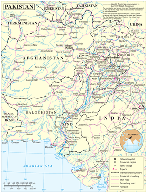 1999 Pakistani coup d'état - United Nations's geophysical map of Pakistan