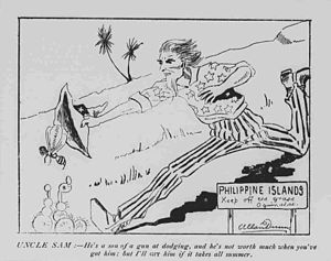 Philippine–American War - Personifying the United States, Uncle Sam chases a bee representing Emilio Aguinaldo