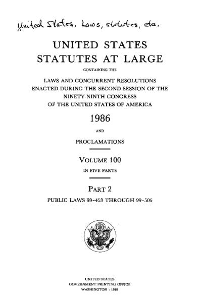 File:United States Statutes at Large Volume 100 Part 2.djvu
