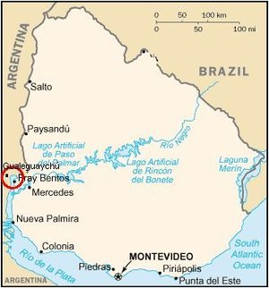 Uruguay River pulp mill dispute - The conflict area.