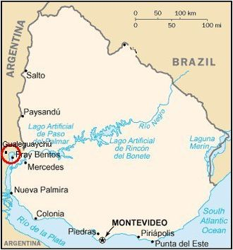 Uruguay River pulp mill dispute - The conflict area.