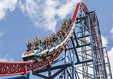 A Train Of The Superman The Ride Virtual Reality Roller Coaster At The Six Flags New England Theme Park Riders Are Wearing Gear Vr Virtual Reality