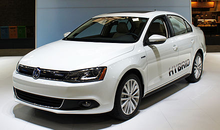 The Volkswagen Jetta Hybrid gets 48 mpg highway. VW Jetta Hybrid WAS 2012 0710.JPG