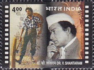 V. Shantaram - Shantaram on a 2001 stamp of India