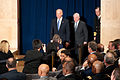Vice President Joe Biden, Defense Secretary Robert Gates, and Chairman of the Joint Chiefs Admiral Michael Mullen at the National Defense University.jpg