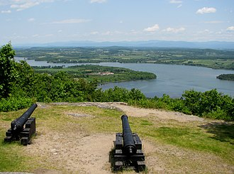 Mount Defiance (New York) - View from Mount Defiance showing Fort Ticonderoga, center, on Lake Champlain