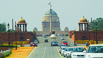 Rashtrapati Bhavan - The sloping approach from the east, which hides the lower part of the building, as Lutyens feared.