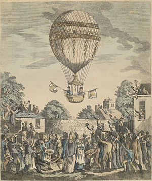 James Sadler (balloonist) - A view of the balloon of Mr. Sadler's ascending.  Print illustrating Sadler's ascent on 12 August 1811.