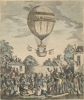 James Sadler (balloonist) - A view of the balloon of Mr. Sadler's ascending.  Print illustrating Sadler's ascent on 12 August 1811.