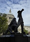 View of the National Firefighters Monument and St Paul's Cathedral.jpg