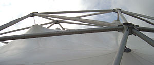 Construction details of a permanently installed tent-type geodesic dome by Buckminster Fuller.