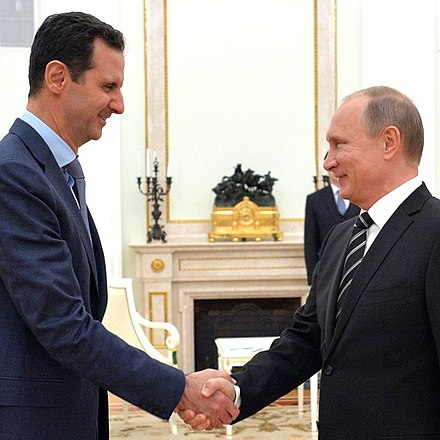 Assad greeting Russian President Vladimir Putin, 21 October 2015 Vladimir Putin and Bashar al-Assad (2015-10-21).jpg