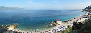 Albanian Adriatic Sea Coast - Panoramic view of the beach in Vlorë.