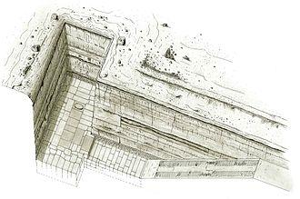 Unfinished Northern Pyramid of Zawyet El Aryan - Image: Vue grande excavation