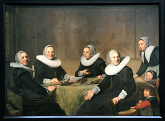 Coen Cuserhof - Regentesses of the Heilige Geesthuis in Haarlem, on the right a boy points to his red sleeve, by Johannes Cornelisz Verspronck, 1662