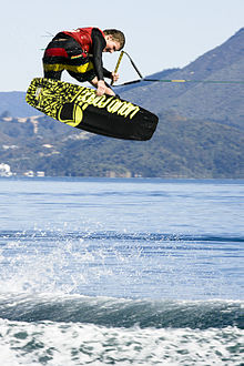 A jump with a wake board
