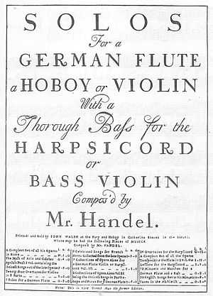 John Walsh (printer) - Cover of the 1732 publication of solo sonatas by Handel.