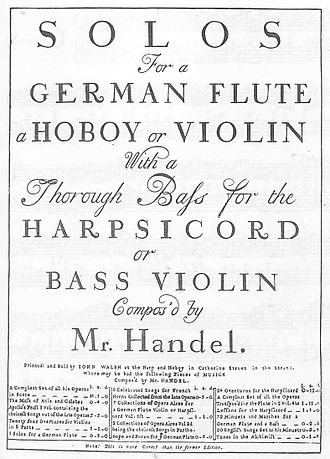 Handel solo sonatas (Walsh) - Cover of Walsh's 1732 publication.
