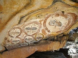 Bradshaw rock paintings - Indigenous Australian rock art in the later Wandjina style