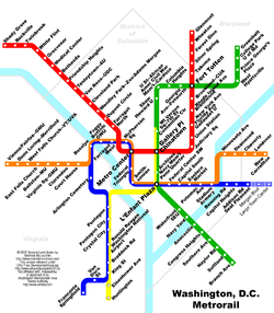 The Washington Metro subway map