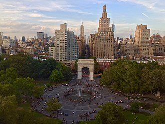 Washington Square Park - An aerial view of Washington Square Park and the start of Fifth Avenue, as seen from New York University's Kimmel Center on Washington Square South.