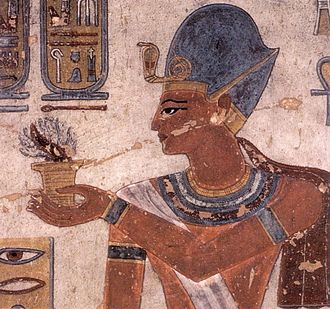 Ramesses III - Ramses III offering incense, wall painting in KV11.