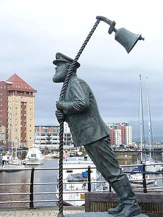 Welsh literature in English - A statue of Captain Cat, a character from Under Milk Wood