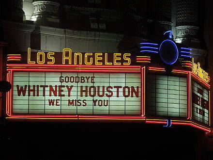 """We miss you"" message at the Los Angeles Theatre Whitney Houston We Miss You.jpg"